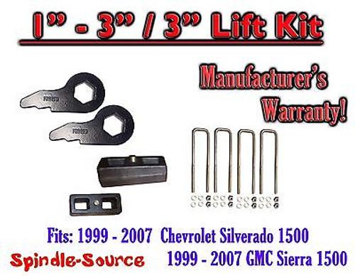 "1999 - 2006 CHEVY Silverado GMC 1500 Sierra 1 - 3"" Keys + 3"" Rear Block"