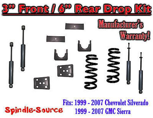 "1999 - 2007 Chevrolet Silverado / GMC Sierra 1500 V6 3"" / 6"" Lower Drop + SHOCKS"