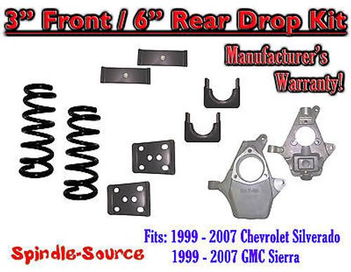 "1999 - 2007 Chevrolet Silverado / GMC Sierra 1500 V6 3"" / 6"" Lowering Drop kit"