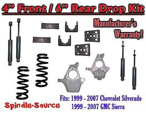 "1999 - 2007 Chevrolet Silverado / GMC Sierra 1500 V8 4"" / 6"" Lower Drop + SHOCKS"