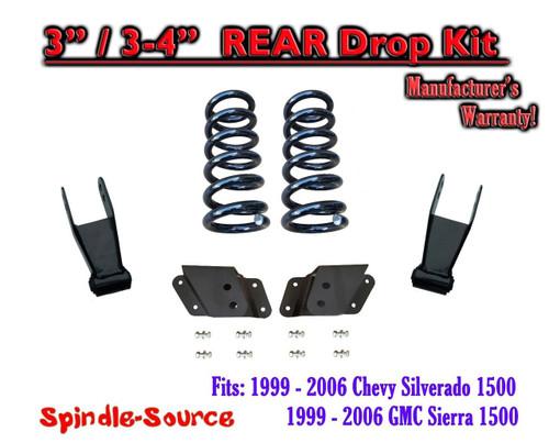 "1999 - 2007 Chevrolet Silverado / GMC Sierra 1500 V8 3"" / 4"" Lower Drop Kit 3/4"