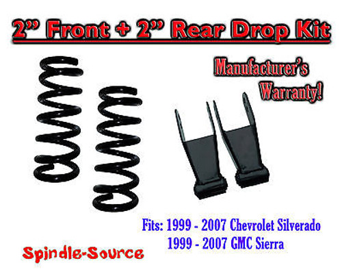 "1999 - 2007 Chevrolet Silverado / GMC Sierra 1500 V8 2"" / 2"" Lowering Drop kit"
