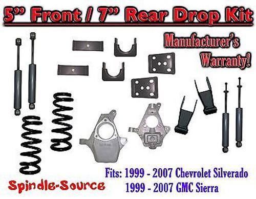 "1999 - 2007 Chevrolet Silverado / GMC Sierra 1500 V6 5"" / 7"" Lower Drop + SHOCKS"