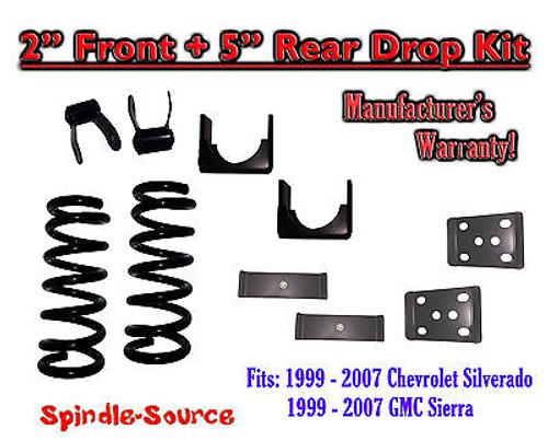 "1999 - 2007 Chevrolet Silverado / GMC Sierra 1500 V8 2"" / 5"" Lowering Drop kit"