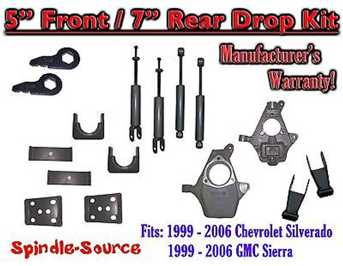 "1999 - 2007 Chevrolet Silverado GMC Sierra 1500 4WD 5"" / 7"" Drop Kit + Shocks"