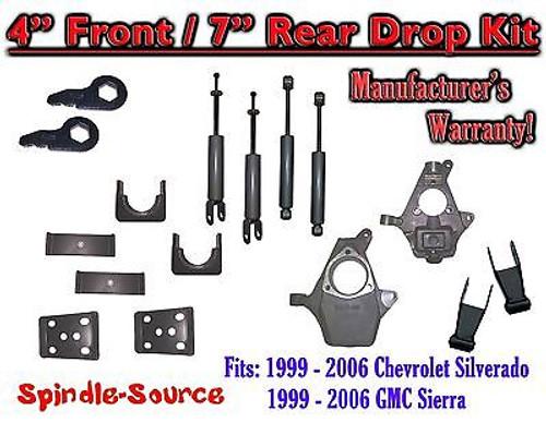 "1999 - 2007 Chevrolet Silverado GMC Sierra 1500 4WD 4"" / 7"" Drop Kit + Shocks"