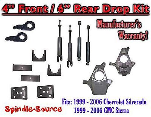 "1999 - 2007 Chevrolet Silverado GMC Sierra 1500 4WD 4"" / 6"" Drop Kit + Shocks"