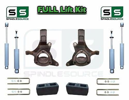 "1999 - 2007 Chevrolet Silverado GMC Sierra 1500 Spindle Lift Kit 4"" / 3"" SHOCKS"