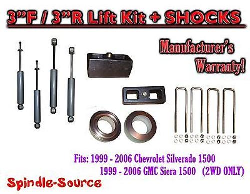 "1999 - 2007 Chevy Silverado GMC Sierra 1500 2WD LEVELING KIT 3"" / 3"" + SHOCKS"