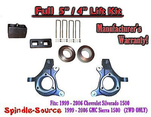 "1999 - 2007 Chevy Silverado GMC Sierra 1500 FULL Spindle 5"" Lift Kit 5"" / 4"" NBS"