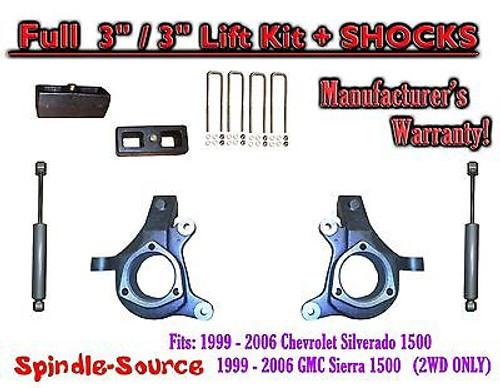 "1999 - 2007 Chevy Silverado GMC Sierra 1500 Spindle 3"" Lift Kit 3"" / 3"" + SHOCKS"