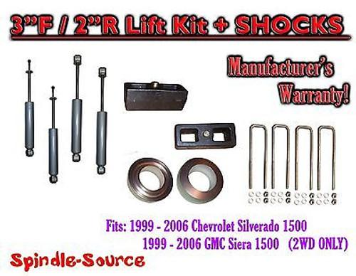 "1999 - 2007 Chevy Silverado GMC Sierra 1500 2WD LEVELING KIT 3"" / 2"" + SHOCKS"