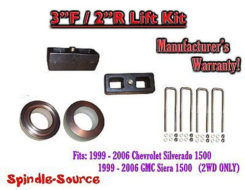 """1999 - 2007 Chevy Silverado GMC Sierra 1500 2WD LEVELING KIT 3"""" / 2"""" Coil Spacer"""