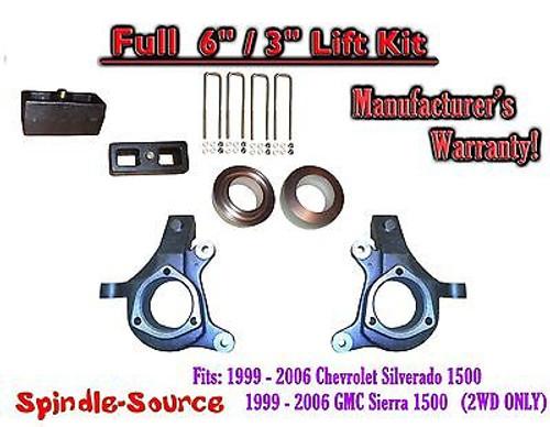 "1999 - 2007 Chevy Silverado GMC Sierra 1500 FULL Spindle 6"" Lift Kit 6"" / 3"" NBS"