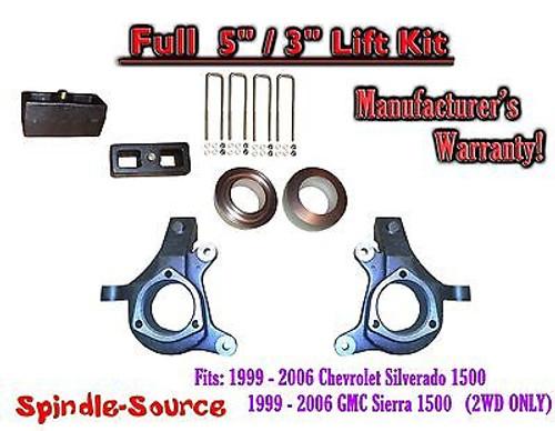 "1999 - 2007 Chevy Silverado GMC Sierra 1500 FULL Spindle 5"" Lift Kit 5"" / 3"" NBS"