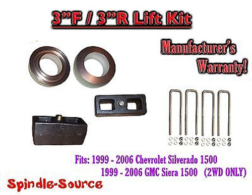 """1999 - 2007 Chevy Silverado GMC Sierra 1500 2WD LEVELING KIT 3"""" / 3"""" Coil Spacer"""