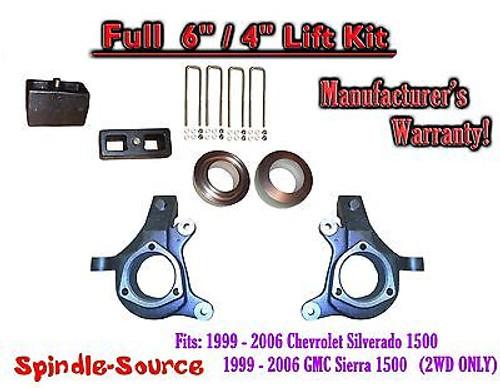 "1999 - 2007 Chevy Silverado GMC Sierra 1500 FULL Spindle 6"" Lift Kit 6"" / 4"" NBS"