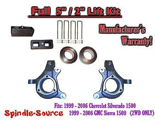 "1999 - 2007 Chevy Silverado GMC Sierra 1500 FULL Spindle 5"" Lift Kit 5"" / 2"" NBS"