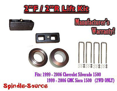 """1999 - 2007 Chevy Silverado GMC Sierra 1500 2WD LEVELING KIT 2"""" / 2"""" Coil Spacer"""