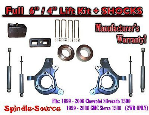 "1999 - 2007 Chevy Silverado GMC Sierra 1500 Spindle 6"" Lift Kit 6"" / 4"" + SHOCKS"