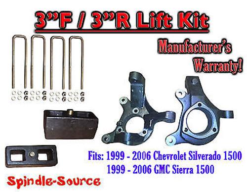 "1999 - 2007 Silverado Sierra 1500 3"" LIFT Spindles AND 3"" Rear Blocks 3""/3"" KIT"