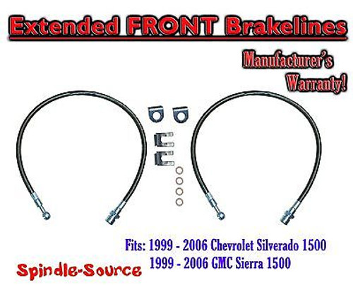1999 - 2007 Chevy Silverado GMC Sierra 1500 Stainless Steel Extended Brake Lines