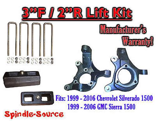 "1999 - 2007 Silverado Sierra 1500 3"" LIFT Spindles AND 2"" Rear Blocks 3""/2"" KIT"