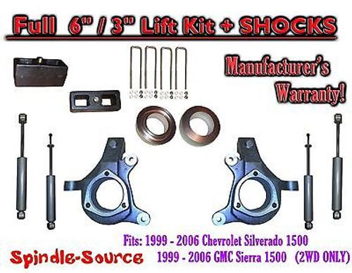 "1999 - 2007 Chevy Silverado GMC Sierra 1500 Spindle 6"" Lift Kit 6"" / 3"" + SHOCKS"