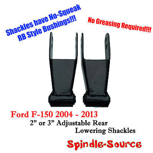 """2"""" 3"""" Drop Lowering Shackles SET 2004 - 2014 Ford F150 F-150 RB Silent Bushings"""