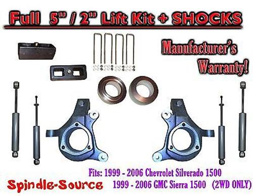 "1999 - 2007 Chevy Silverado GMC Sierra 1500 Spindle 5"" Lift Kit 5"" / 2"" + SHOCKS"