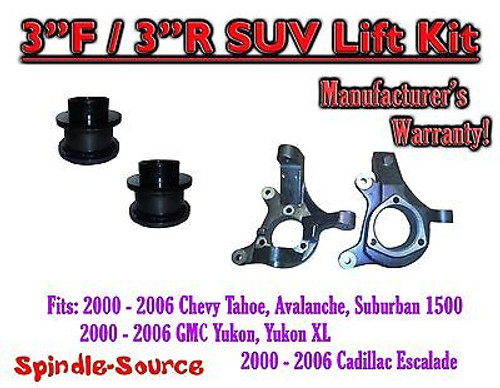 """2000 - 2006 Chevrolet GMC 1500 3"""" / 3"""" Lift Kit Spindles Spacer SUV 00-06 Chevy"""