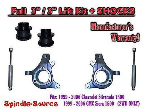 "2000 - 2006 Chevrolet GMC 1500 3"" / 3"" Lift Kit Spindles Spacer SUVs + SHOCKS"