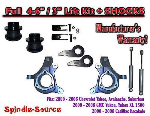 "2000 - 2006 Chevrolet GMC 1500 4-6"" / 3"" Lift Kit Spindles Spacer EXT + SHOCKS"