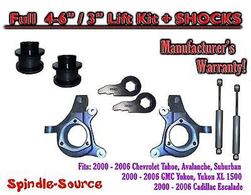 """2000 - 2006 Chevrolet GMC 1500 4-6"""" / 3"""" Lift Kit Spindles Coil Spacer + SHOCKS"""