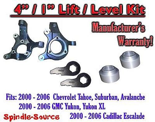 "2000 - 2006 Chevrolet GMC 1500 4"" / 1"" Lift Kit Spindles Spacer Keys Chevy 00-06"