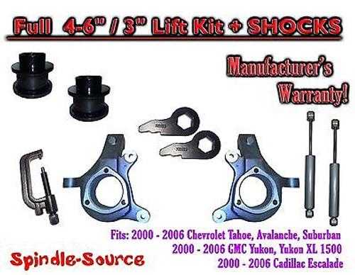 "2000 - 2006 Chevrolet GMC 1500 4-6"" / 3"" Lift Kit Spindles Spacer TOOL + SHOCKS"