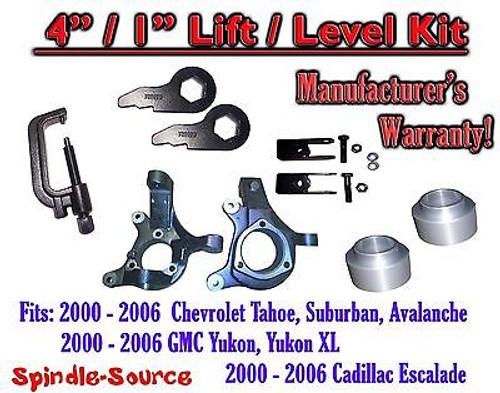 "2000 - 2006 Chevrolet GMC 1500 4"" / 1"" Lift Kit Spindles Spacer Keys EXT + TOOL"