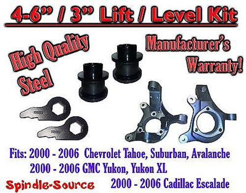 """2000 - 2006 Chevrolet GMC 1500 4"""" - 6"""" / 3"""" Lift Kit Spindles Spacer SUV 00-06"""