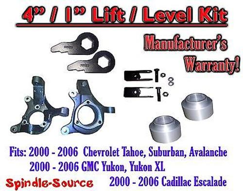 "2000 - 2006 Chevrolet GMC 1500 4"" / 1"" Lift Kit Spindles Spacer Keys EXT 00-06"