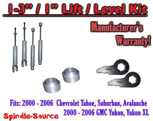 """2000 - 2006 CHEVY GMC 1500 SUVs tahoe yukon 1-3"""" Keys / 1"""" Leveling Kit + SHOCKS"""