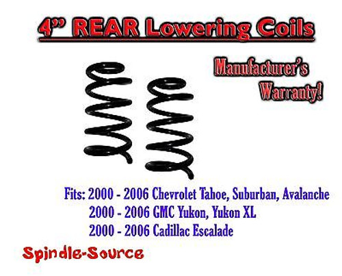 """2000 - 2006 Chevy GMC SUV 4"""" Drop Lowering Coils Springs Suburban Tahoe + MORE"""