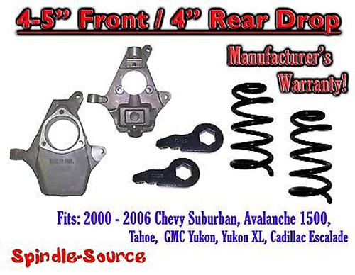 "2000 - 2006 Chevy GMC Tahoe Yukon Avalanche Escalade Suburban 4"" / 4"" Drop Kit"
