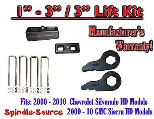 "2000 - 2010 CHEVY GMC 2500 3500 HD Silverado Sierra 1"" - 3"" Keys + 3"" Blocks"