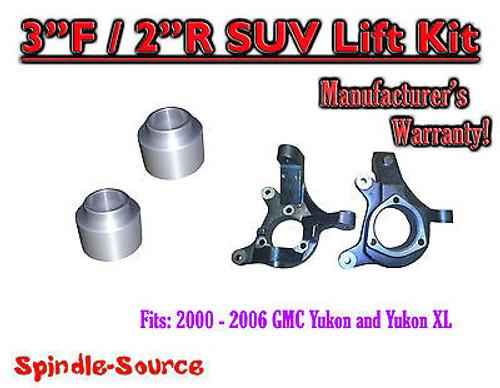 "2000 - 2006 GMC Yukon Yukon XL 1500 SUV 2WD 3"" / 2"" Lift Kit Spindles 00-06"