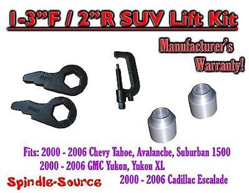 "2000 -06 Chevrolet GMC 1500 1-3"" / 2"" Torsion Key Lift Chevy 00-06 Spacer + TOOL"