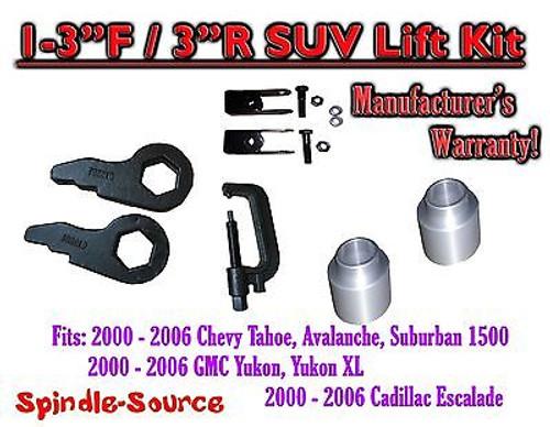 "2000 -2006 Chevrolet GMC 1500 1-3"" / 2"" Torsion Key Lift Chevy Spacer EXT + TOOL"