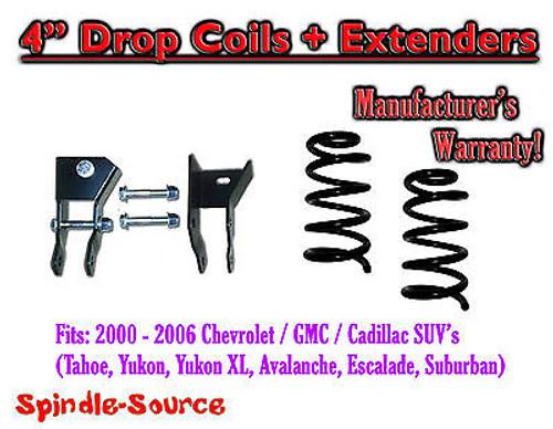 "2000- 06 Chevy GMC SUV 4"" Drop Lowering Coils Springs Suburban Tahoe + EXTENDERS"