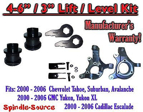 "2000- 2006 Chevrolet GMC 1500 4"" - 6"" / 3"" Lift Kit Spindles Spacer Keys EXT"