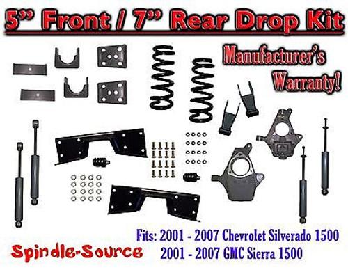 "2001 - 07 Chevy Silverado GMC Sierra V8 5"" / 7 -8"" Lower Drop + SHOCKS +C-NOTCH"