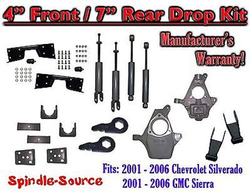 "2001 - 2007 Chevy Silverado GMC Sierra 1500 4WD 4"" / 7"" Drop Kit, Shocks, NOTCH"
